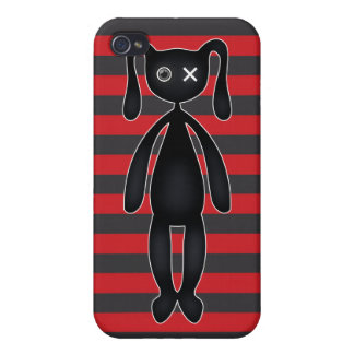 Goth Red and Black Bunny Cases For iPhone 4