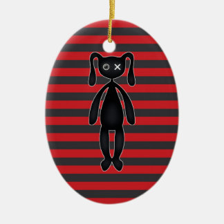 Goth Red and Black Bunny Ceramic Ornament