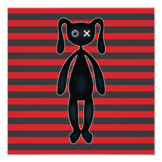 Goth Red and Black Bunny Photo Print