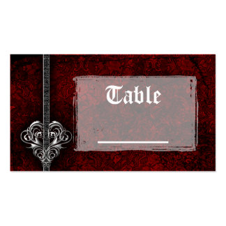 Goth Red Damask Silver Heart Reception Table Cards