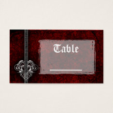 Goth Red Damask Silver Heart Reception Table Cards at Zazzle