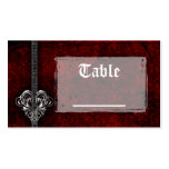 Goth Red Damask Silver Heart Reception Table Cards Business Card