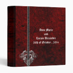 Goth Red Damask Silver Heart Wedding Album Binder