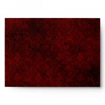 Goth Red Damask Silver Heart Wedding Envelope