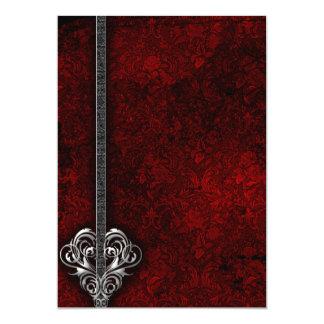 Goth Red Damask Silver Heart wedding Card