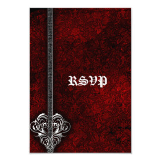 Goth Red Damask Silver Heart wedding RSVP Personalized Announcement