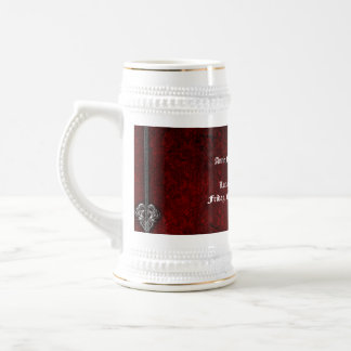 Goth Red Damask Silver Heart wedding stein