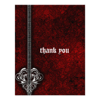 Goth Red Damask Silver Heart wedding Thank You Invitations