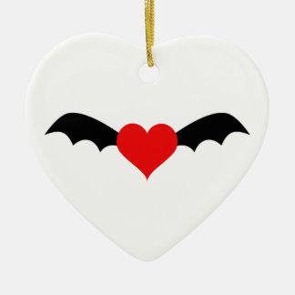 Goth Red Heart with Bat Wings Ceramic Ornament