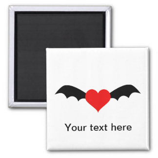 Goth Red Heart with Bat Wings Magnet