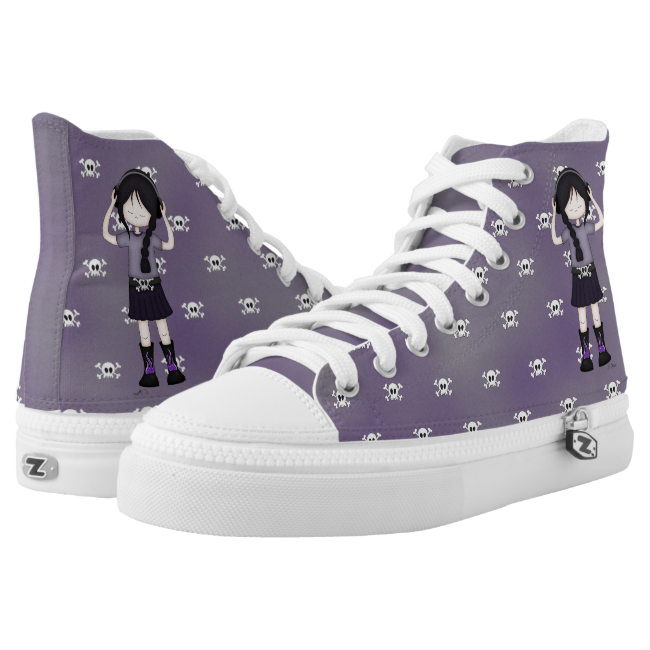 Goth Rock Girl and Skulls Whimsical Cartoon High-Top Sneakers