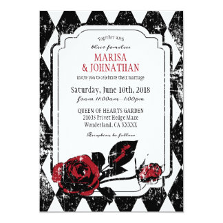 Goth Roses Grunge Diamond Print Wedding Invitation