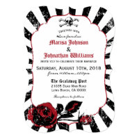 Goth Roses Skull Grunge Pirate Wedding Invitation