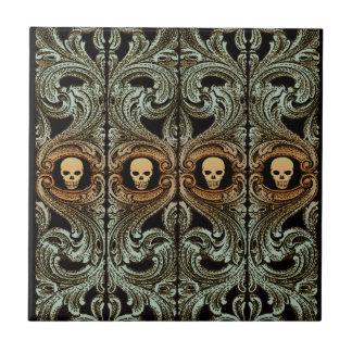 Goth Sage Green Ornament with Skull Ceramic Tile
