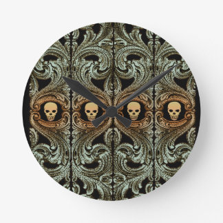 Goth Sage Green Ornament With Skull Round Clock