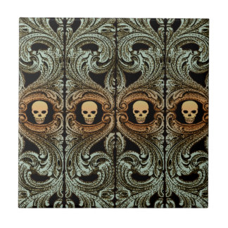Goth Sage Green Ornament With Skull Tile