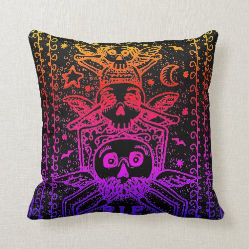GOTH SEE NO EVIL, CEMETERY SKELETON THROW PILLOW