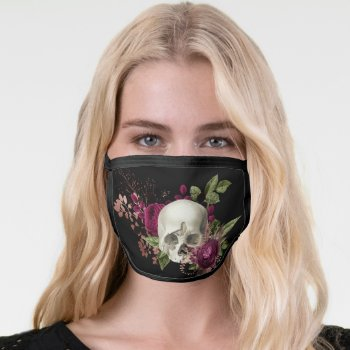 Goth Skull and Rose Burgundy and Black Gothic Face Mask