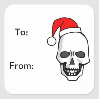 Goth Skull Christmas Square Stickers