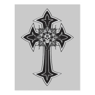 Goth Skull Cross Postcard