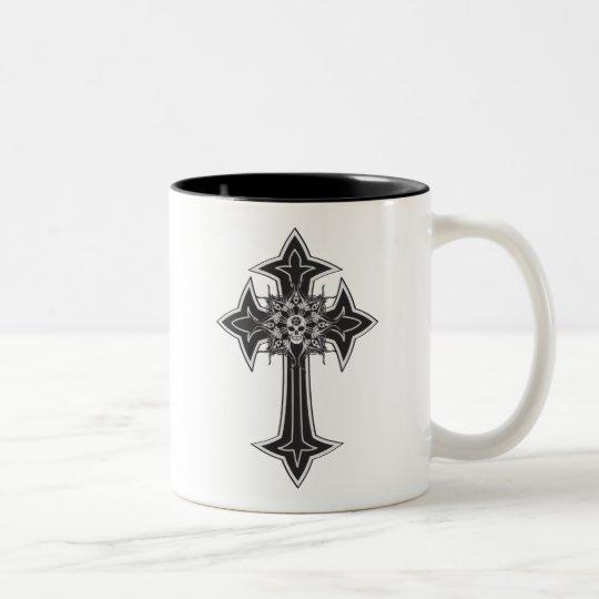 Goth Skull Cross Two-Tone Coffee Mug