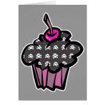goth skull crossbones cupcake card
