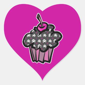 goth skull crossbones cupcake heart sticker