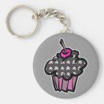 goth skull crossbones cupcake basic round button keychain