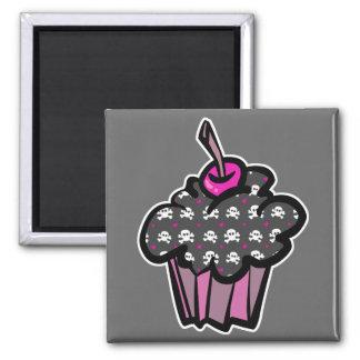 goth skull crossbones cupcake refrigerator magnet