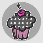 goth skull crossbones cupcake round sticker