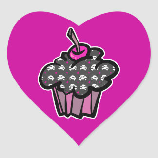 goth skull crossbones cupcake heart stickers