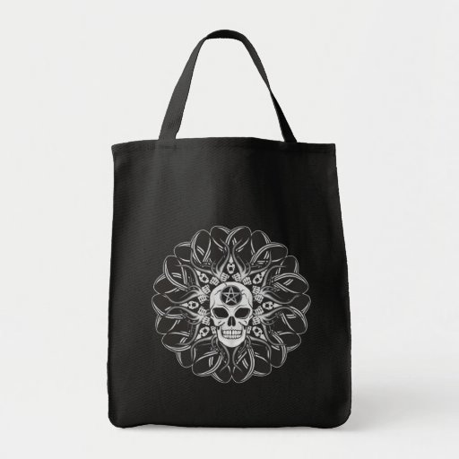 Goth Skull Grocery Tote Bag