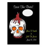 Goth  Skull Save The Date! Wedding Postcard