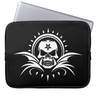 Goth Skull with Bat Wings and Pentagram Laptop Sleeve