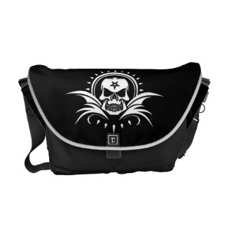 Goth Skull with Bat Wings and Pentagram Messenger Bag