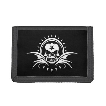 Halloween Themed Goth Skull with Bat Wings and Pentagram Tri-fold Wallet