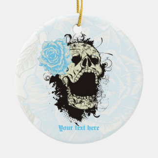 Goth skull with vintage blue rose  keepsake Double-Sided ceramic round christmas ornament