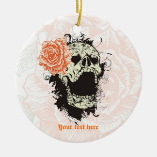 Goth skull with vintage orange rose  keepsake ceramic ornament