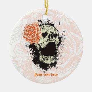 Goth skull with vintage orange rose  keepsake Double-Sided ceramic round christmas ornament
