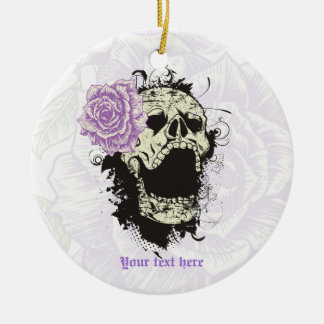 Goth skull with vintage purple rose  keepsake Double-Sided ceramic round christmas ornament