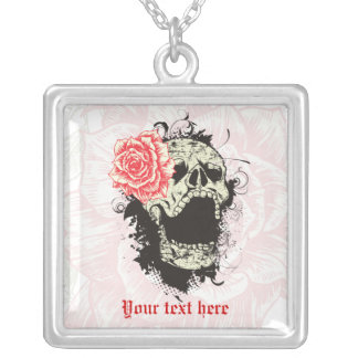 Goth skull with vintage red rose custom necklace