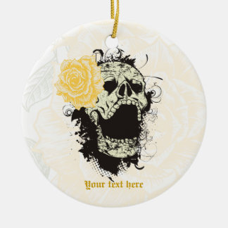 Goth skull with vintage yellow rose  keepsake Double-Sided ceramic round christmas ornament