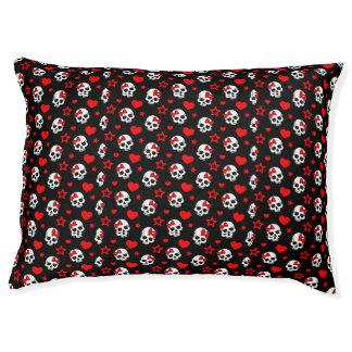 Goth Skulls & Hearts Dog Bed