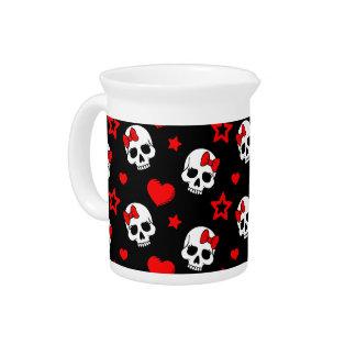 Goth Skulls & Hearts Beverage Pitcher