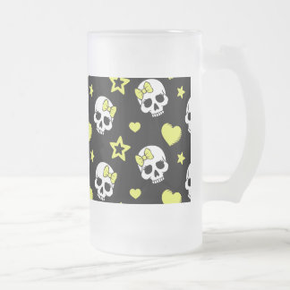Goth Skulls & Hearts with Yellow Accents Frosted Glass Beer Mug