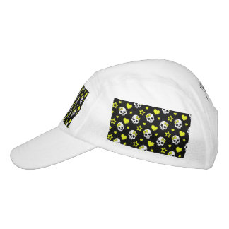 Goth Skulls & Hearts with Yellow Accents Headsweats Hat