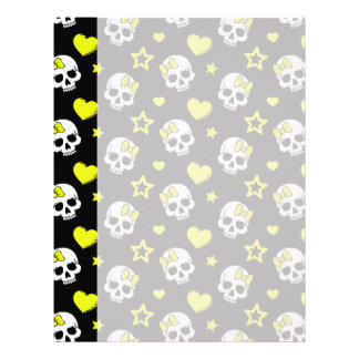 Goth Skulls & Hearts with Yellow Accents Letterhead