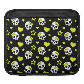 Goth Skulls & Hearts with Yellow Accents Sleeve For iPads
