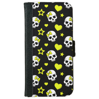 Goth Skulls & Hearts with Yellow Accents Wallet Phone Case For iPhone 6/6s