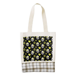 Goth Skulls & Hearts with Yellow Accents Zazzle HEART Tote Bag